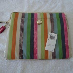 COACH Poppy Legacy Stripe Ipad Tablet Sleeve NEW!